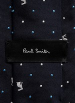 Rabbit polka dot embroidery silk tie