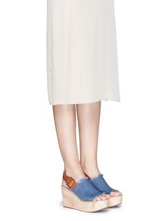 PEDDER RED'Julie' leather slingback denim wooden wedge sandals
