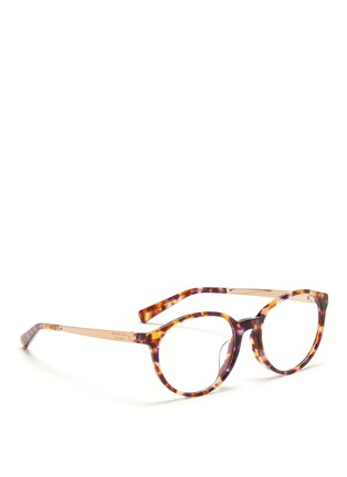 Figure View - Click To Enlarge - Michael Kors - 'Mayfair' metal temple tortoiseshell acetate optical glasses