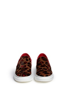 ALEXANDER MCQUEEN Chunky outsole cheetah print pony hair slip-ons