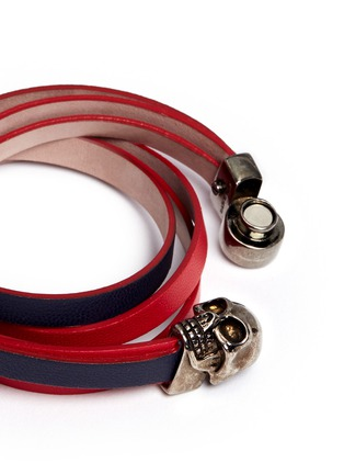 Detail View - Click To Enlarge - Alexander McQueen - Skull double wrap colourblock leather bracelet
