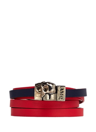 Main View - Click To Enlarge - Alexander McQueen - Skull double wrap colourblock leather bracelet