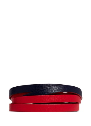 Figure View - Click To Enlarge - Alexander McQueen - Skull double wrap colourblock leather bracelet