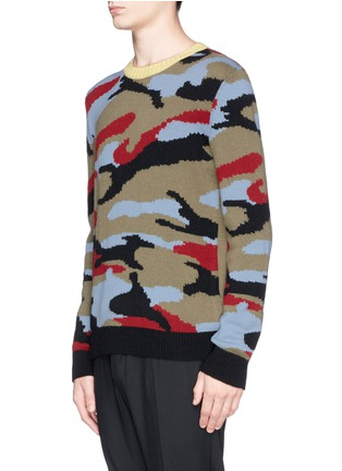Front View - Click To Enlarge - Valentino - Camouflage cashmere sweater