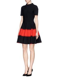 ALEXANDER MCQUEENSpray stripe floral jacquard cloqué dress