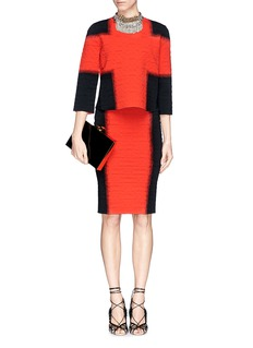 ALEXANDER MCQUEENSpray stripe floral jacquard cloqué skirt