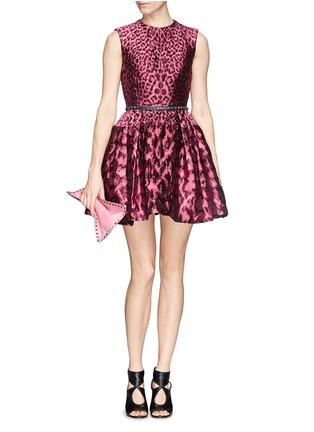 Detail View - Click To Enlarge - Alexander McQueen - Leopard jacquard cloqué flare dress
