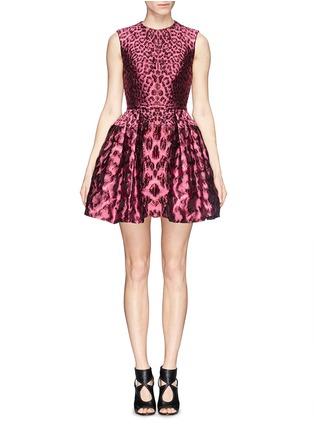 Main View - Click To Enlarge - Alexander McQueen - Leopard jacquard cloqué flare dress