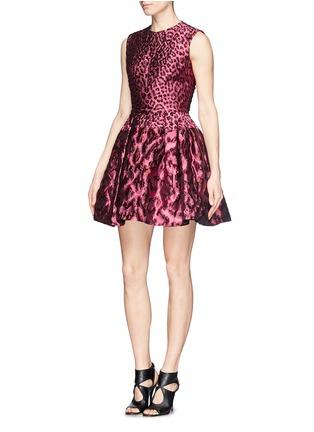 Figure View - Click To Enlarge - Alexander McQueen - Leopard jacquard cloqué flare dress