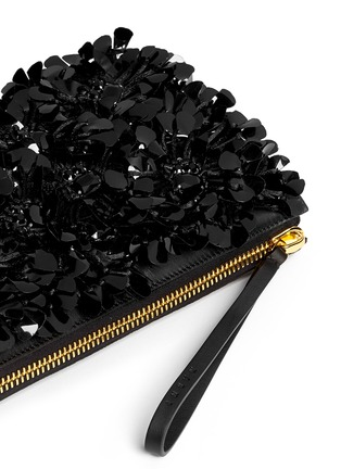 Detail View - Click To Enlarge - Marni - Floral appliqué large accordion leather clutch