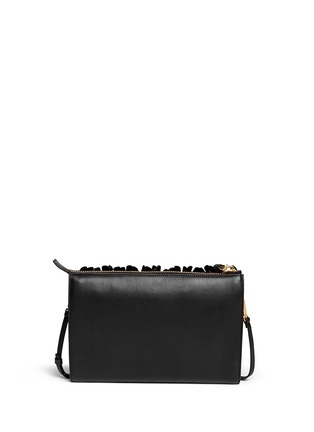 Back View - Click To Enlarge - Marni - Floral appliqué large accordion leather clutch