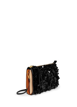 Front View - Click To Enlarge - Marni - Floral appliqué large accordion leather clutch