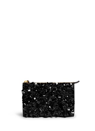 Main View - Click To Enlarge - Marni - Floral appliqué large accordion leather clutch