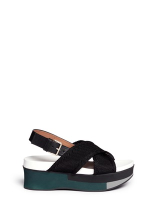 Main View - Click To Enlarge - Marni - 'Zeppa' crisscross strap flatform sandals