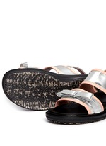 Contrast trim metallic leather bow sandals