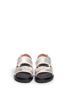 MARNI Contrast trim metallic leather bow sandals