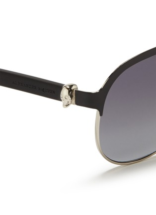 Detail View - Click To Enlarge - Alexander McQueen - Flat brow bar wire aviator sunglasses