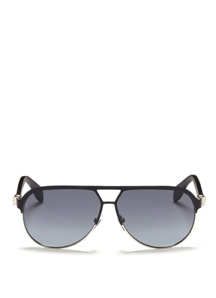 Main View - Click To Enlarge - Alexander McQueen - Flat brow bar wire aviator sunglasses