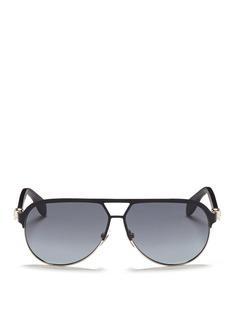 ALEXANDER MCQUEENFlat brow bar wire aviator sunglasses