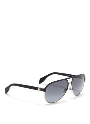 Figure View - Click To Enlarge - Alexander McQueen - Flat brow bar wire aviator sunglasses