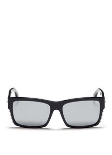 ALEXANDER MCQUEENStud rectangle frame acetate sunglasses