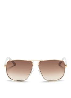 JIMMY CHOO'Carry' leather trim wire rim sunglasses