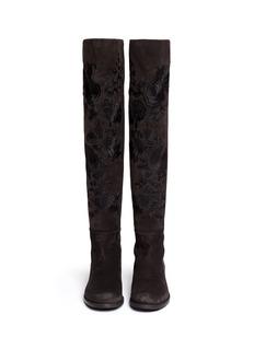 STUART WEITZMANx Huishan Zhang for BLITZ '5050' embroidery suede boots