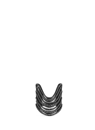 Main View - Click To Enlarge - Lynn Ban - 'Crest' diamond black rhodium silver ring