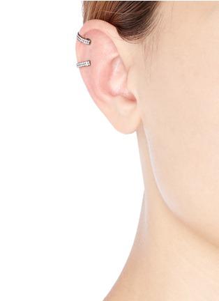 Figure View - Click To Enlarge - REPOSSI - 'Berbère' diamond black gold 2-hoop ear cuff