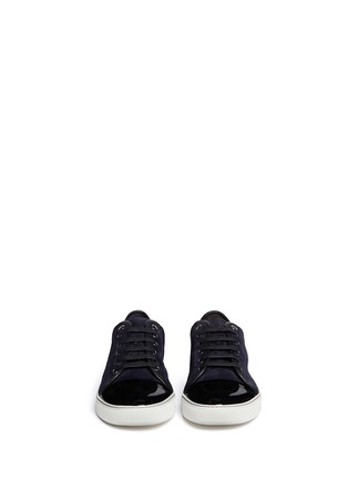 Figure View - Click To Enlarge - Lanvin - Suede and patent leather sneakers