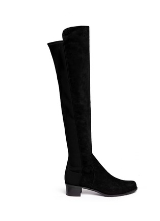 Main View - Click To Enlarge - Stuart Weitzman - 'Reverse' elastic back suede boots