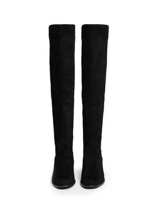 Figure View - Click To Enlarge - Stuart Weitzman - 'Reverse' elastic back suede boots