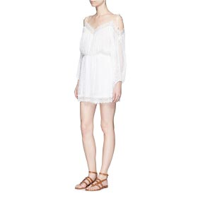 ZIMMERMANN 'REALM' EYELASH LACE SILK GEORGETTE PLAYSUIT