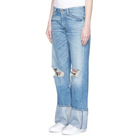 SIMON MILLER 'ARAPO' DISTRESSED LIGHT WASH WIDE LEG JEANS