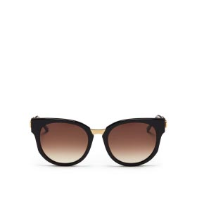 THIERRY LASRY 'AFFINITY' METAL TEMPLE ACETATE ROUND SUNGLASSES