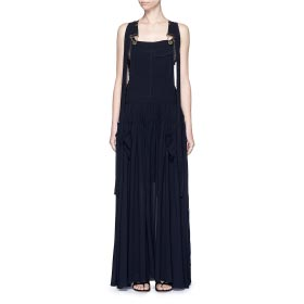 CHLOÉ OPEN BACK CREPE DUNGAREE TIER MAXI DRESS