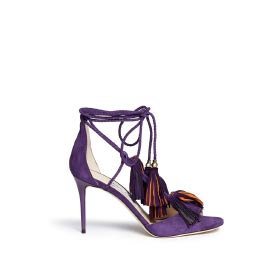 JIMMY CHOO 'MINDY 85' TASSEL CHARM SUEDE SANDALS