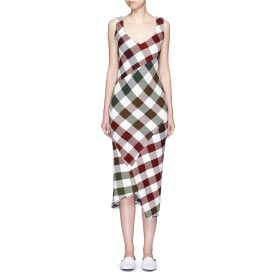 VICTORIA BECKHAM BOUNCE GINGHAM CHECK PATCHWORK OPEN BACK DRESS
