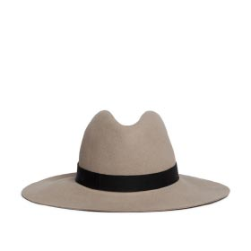 JANESSA LEONE 'LOTUS' LEATHER BAND WOOL FELT HAT