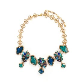 ERICKSON BEAMON 'ST. MORITZ' 24K GOLD PLATED SWAROVSKI CRYSTAL NECKLACE