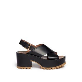 MARNI CROSS VAMP LEATHER SLINGBACK WEDGE SANDALS