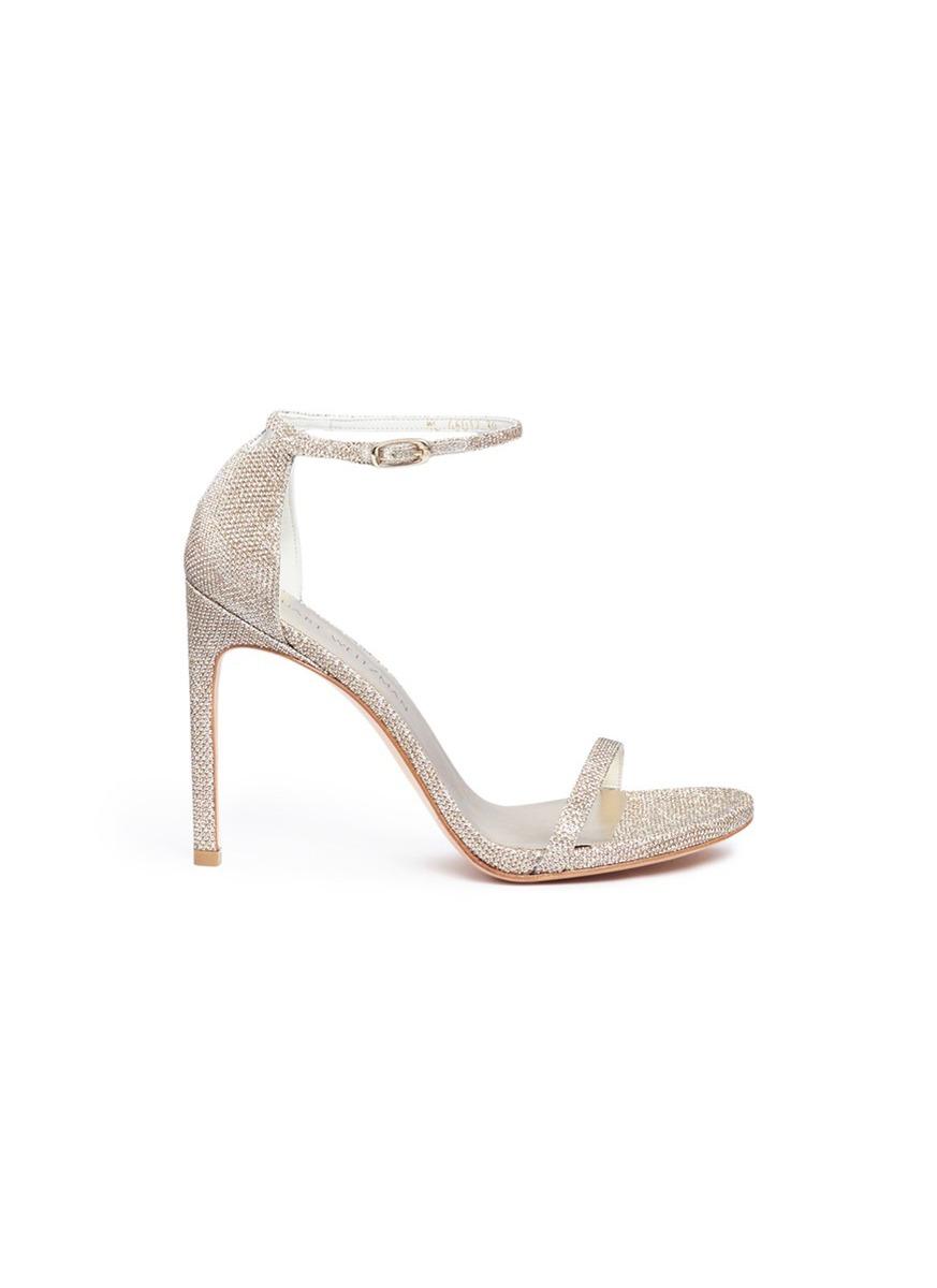 Nudist Song glitter lamé sandals by Stuart Weitzman