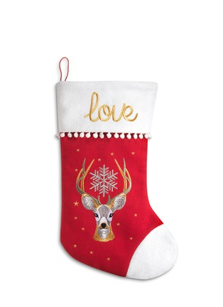 Main View - Click To Enlarge - KATE BARNETT - Reindeer print wool felt Christmas stocking