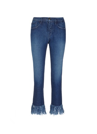 Main View - Click To Enlarge - 3X1 - 'WM3' fringe cuff cropped jeans