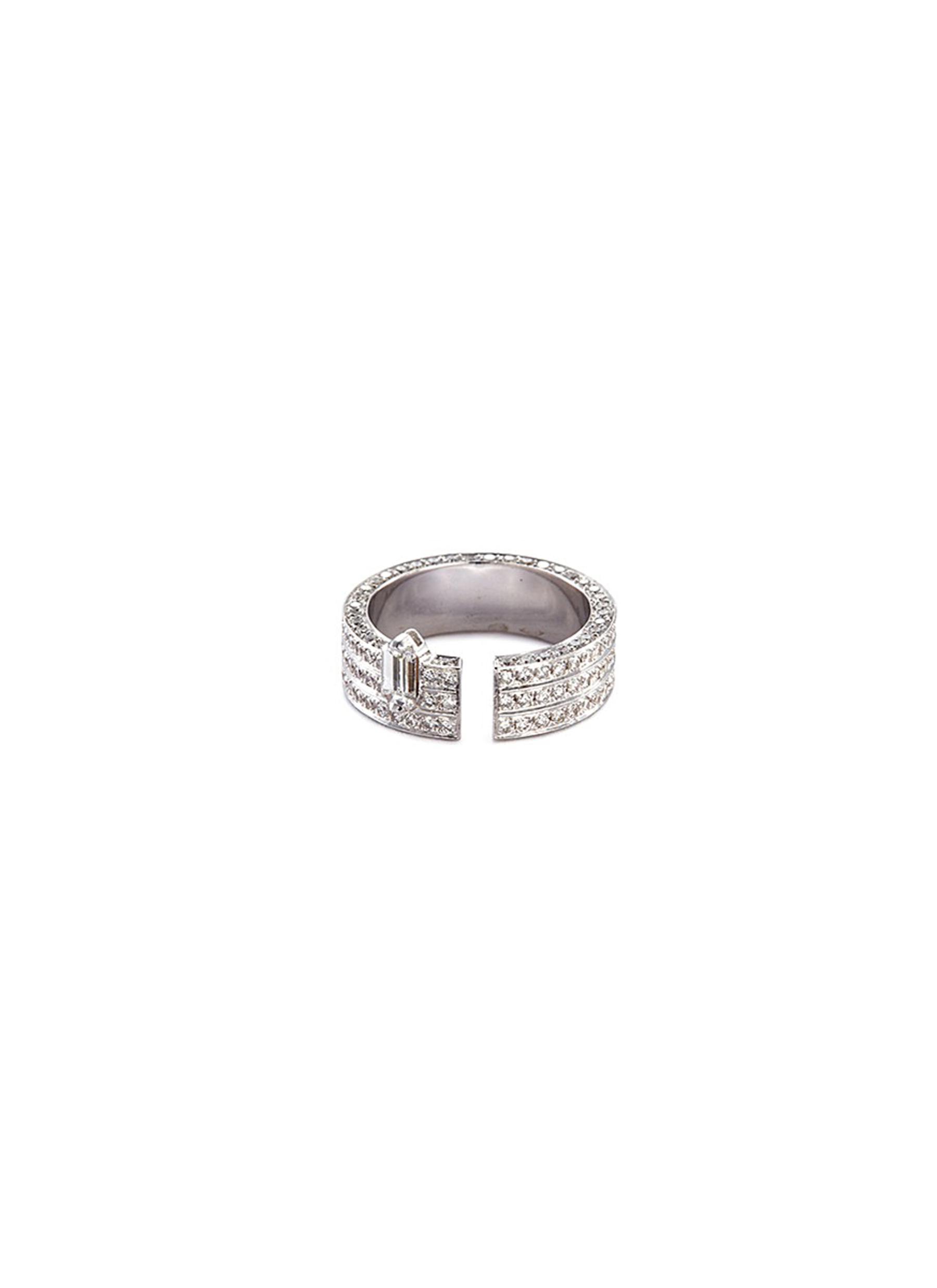 'Disruptive' diamond 18k white gold three tier open ring