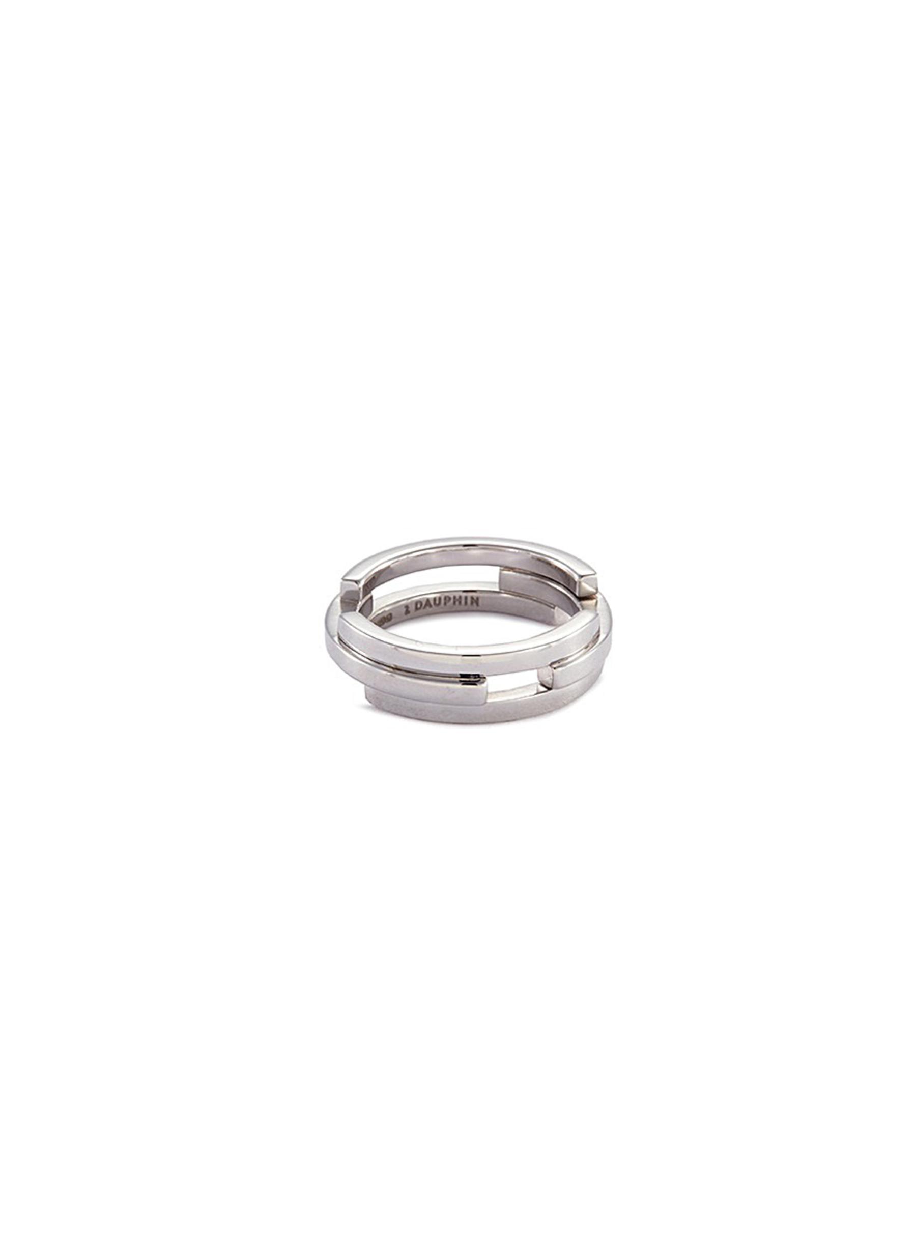 'Volume' 18k white gold three tier ring