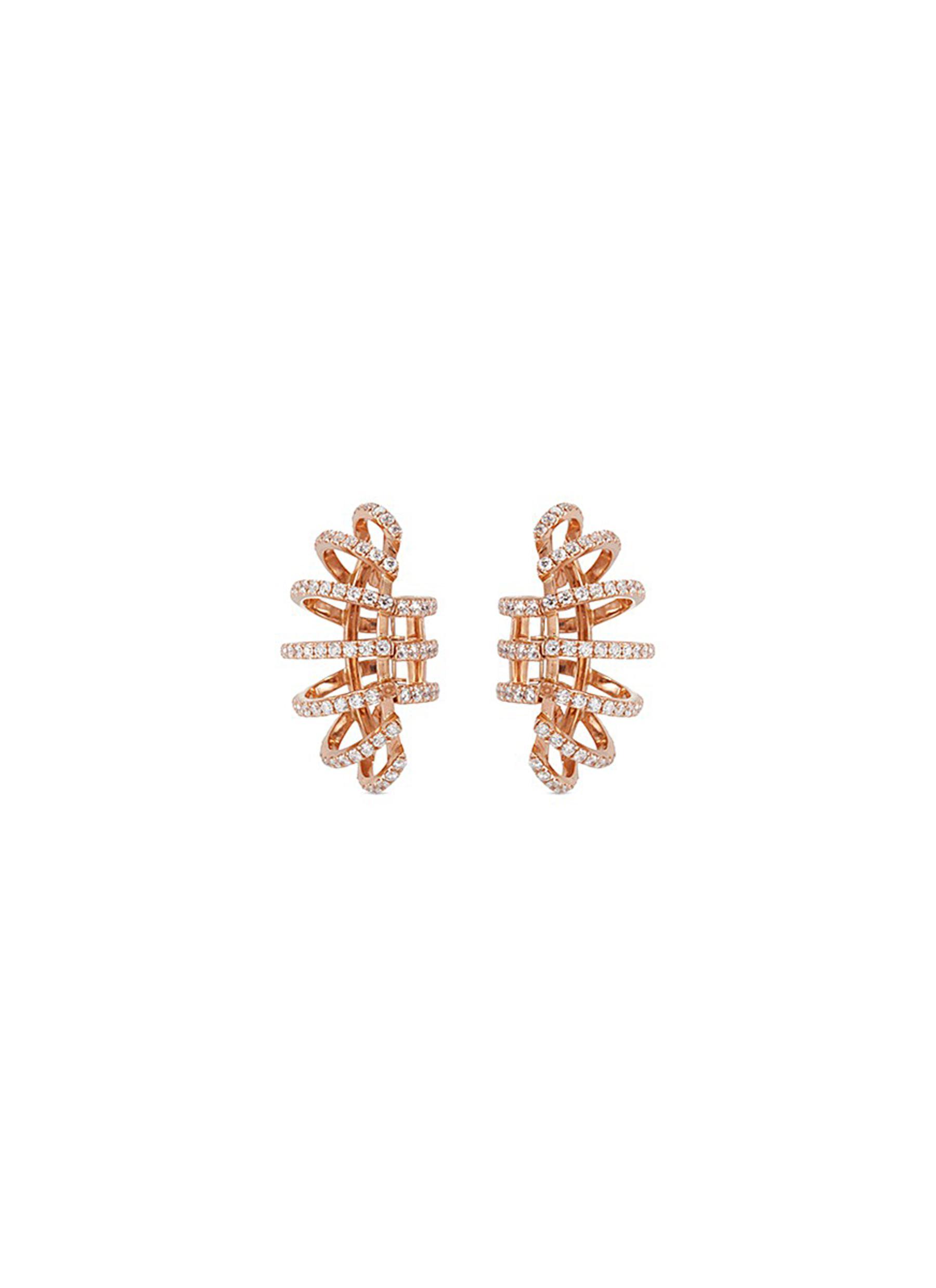 Diamond 18k rose gold clip earrings