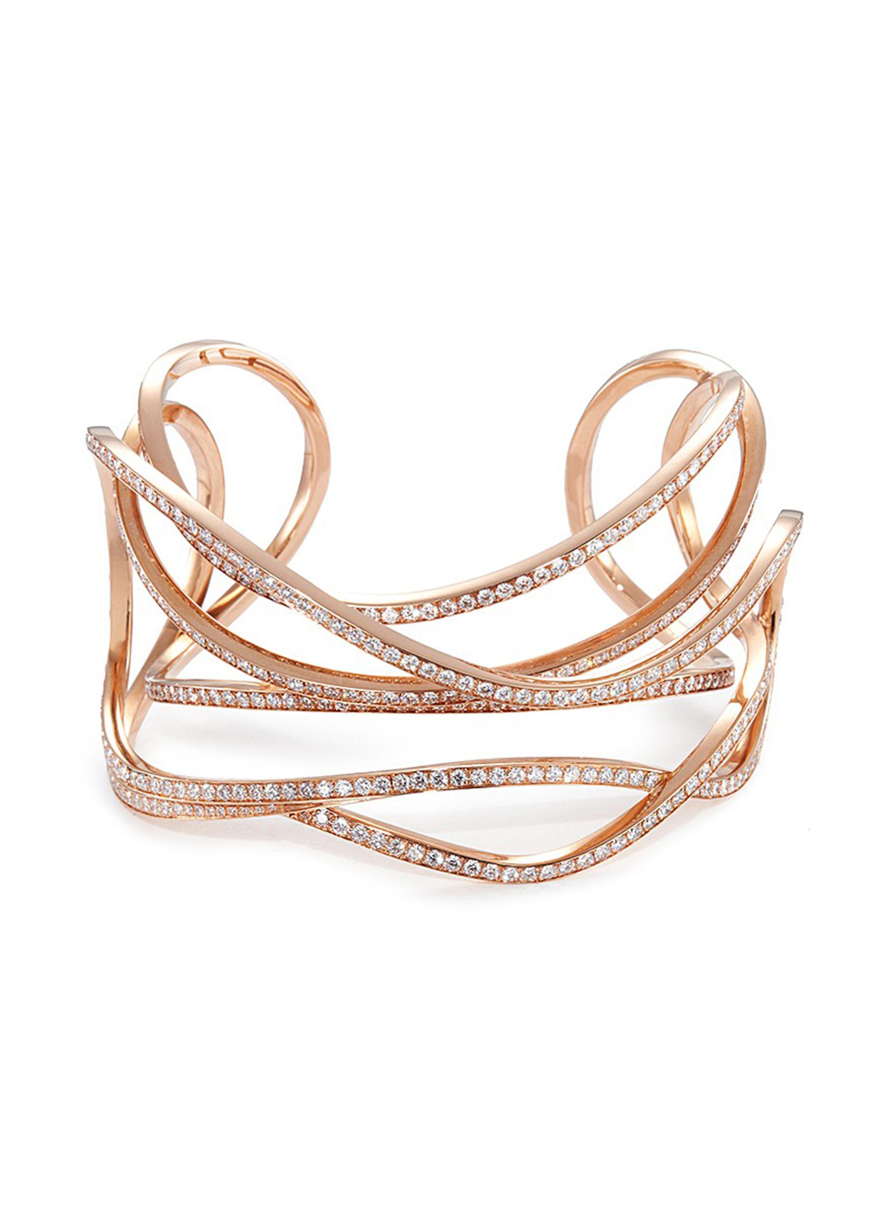 'Serpentine' diamond 18k rose gold cuff