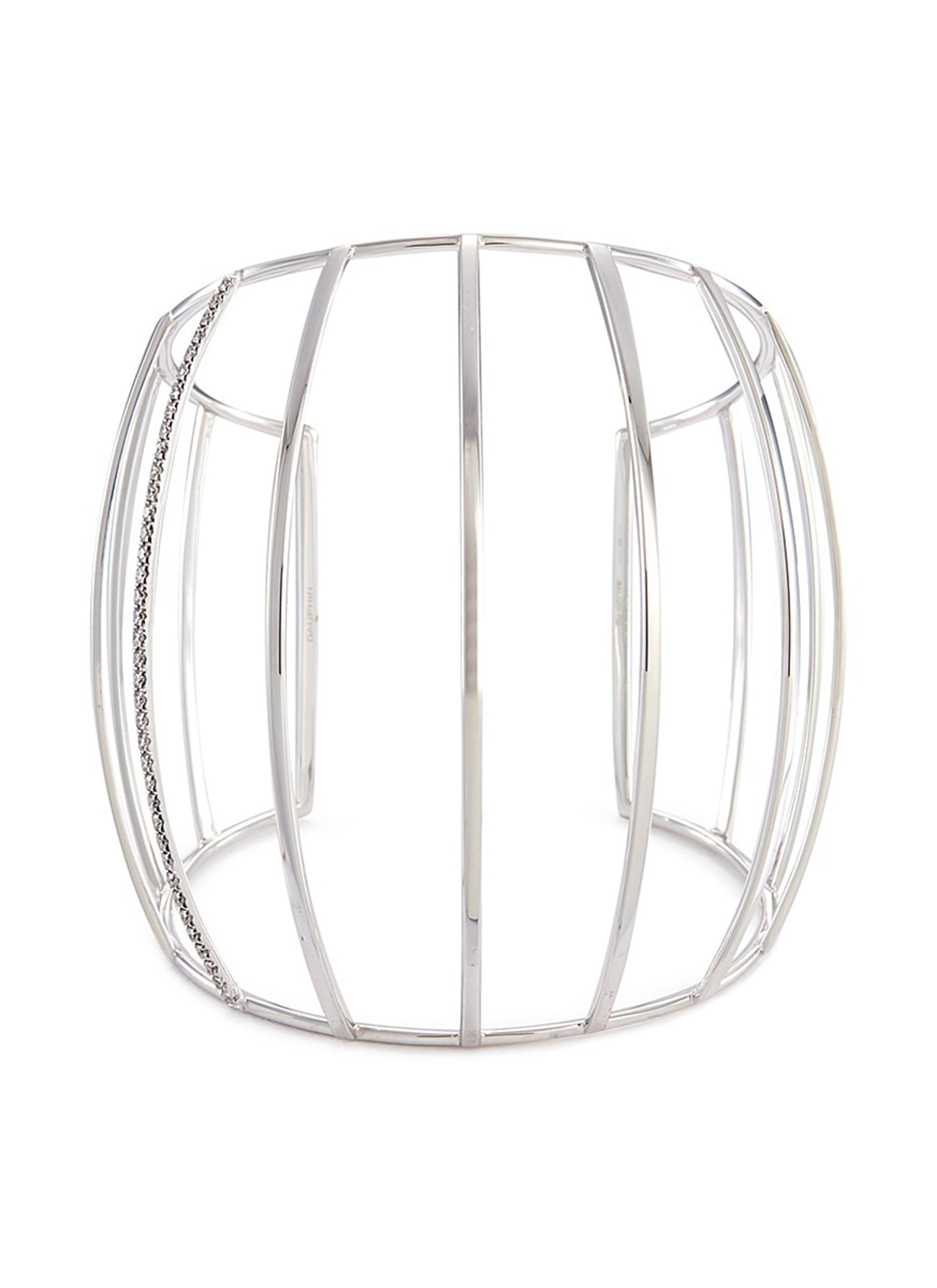 Diamond 18k white gold caged cuff