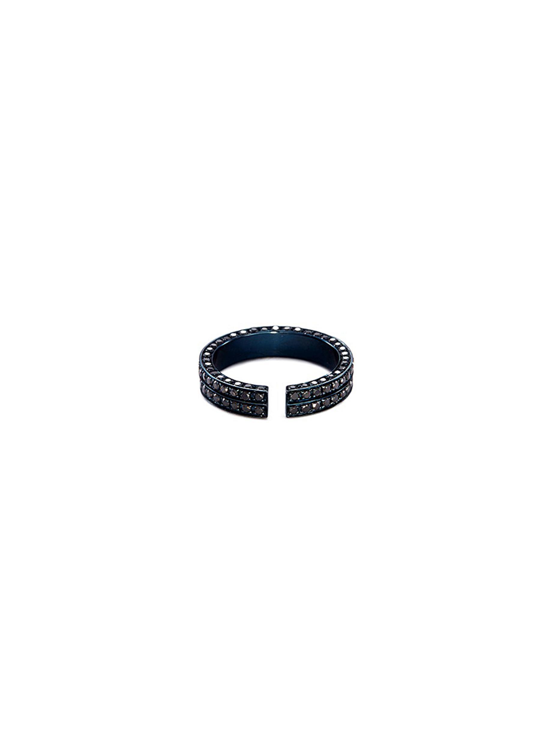 Diamond rhodium plated 18k white gold open ring